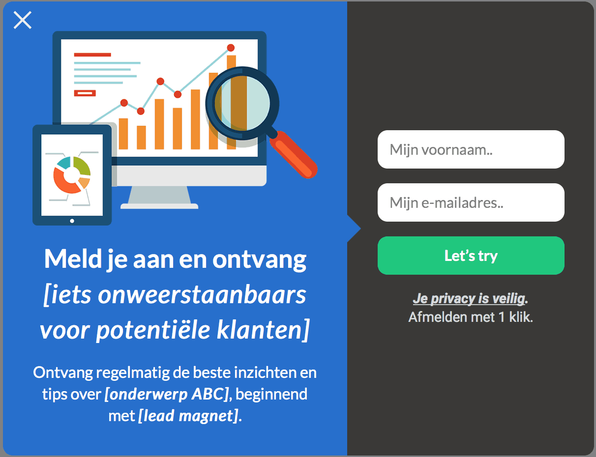avg email marketing formulier voorbeeld