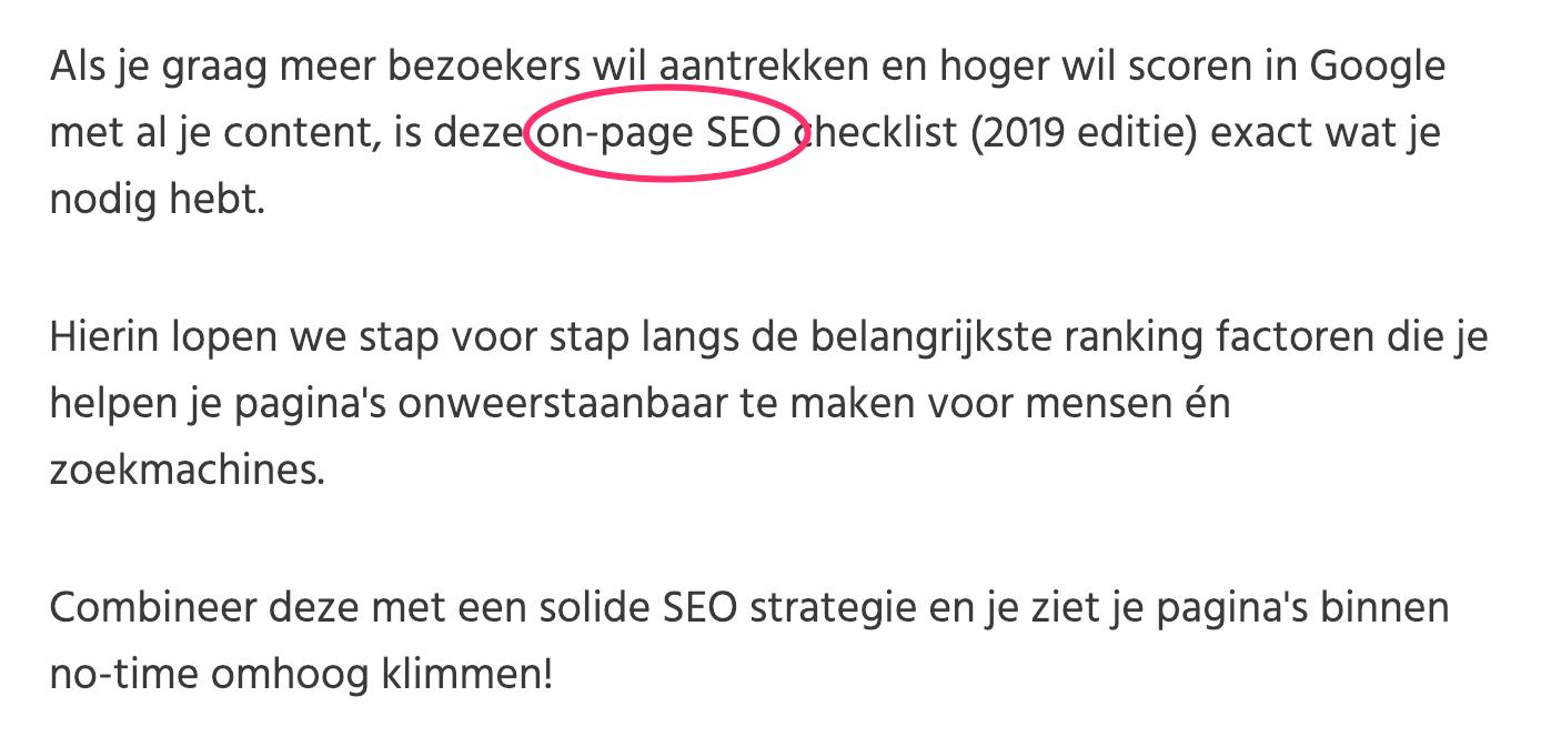 on-page seo voorbeeld introductie