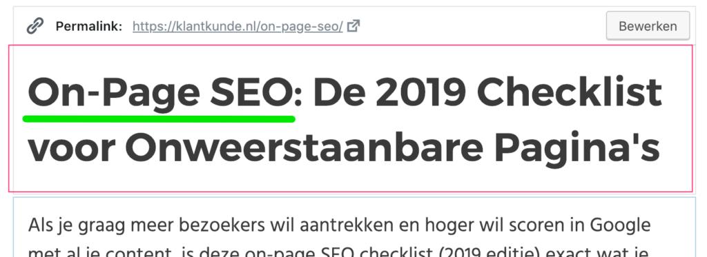 zoekwoorden in h1 pagina titel on-page seo voorbeeld