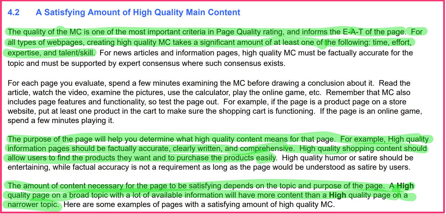 hoge kwaliteit content