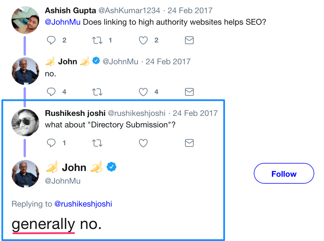 John Mueller over link directories